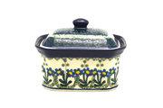 Ceramika Artystyczna Polish Pottery Cake Box - Small - Blue Spring Daisy 385-614a (Ceramika Artystyczna)
