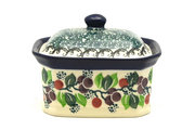 Ceramika Artystyczna Polish Pottery Cake Box - Small - Burgundy Berry Green 385-1415a (Ceramika Artystyczna)