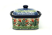 Ceramika Artystyczna Polish Pottery Cake Box - Small - Crimson Bells 385-1437a (Ceramika Artystyczna)