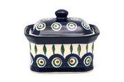 Ceramika Artystyczna Polish Pottery Cake Box - Small - Peacock 385-054a (Ceramika Artystyczna)