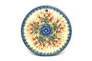 """Ceramika Artystyczna Polish Pottery Cheese Board - 7 1/4"""" - Crimson Bells 413-1437a (Ceramika Artystyczna)"""
