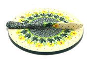 Ceramika Artystyczna Polish Pottery Cheese Board & Spreader Set - Daffodil S56-2122q (Ceramika Artystyczna)