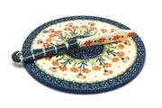 Ceramika Artystyczna Polish Pottery Cheese Board & Spreader Set - Peach Spring Daisy S56-560a (Ceramika Artystyczna)