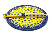 Ceramika Artystyczna Polish Pottery Cheese Board & Spreader Set - Sunburst S56-859a (Ceramika Artystyczna)