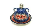 Ceramika Artystyczna Polish Pottery Cheese Lady - Miniature - Aztec Sun 112-1350a (Ceramika Artystyczna)