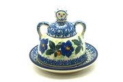 Ceramika Artystyczna Polish Pottery Cheese Lady - Miniature - Blue Pansy 112-1552a (Ceramika Artystyczna)