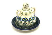 Ceramika Artystyczna Polish Pottery Cheese Lady - Miniature - Blue Spring Daisy 112-614a (Ceramika Artystyczna)