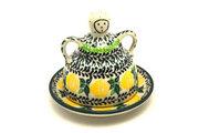Ceramika Artystyczna Polish Pottery Cheese Lady - Miniature - Lemon Twist 112-1904q (Ceramika Artystyczna)