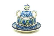 Ceramika Artystyczna Polish Pottery Cheese Lady - Miniature - Peacock Feather 112-1513a (Ceramika Artystyczna)
