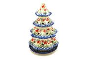 """Ceramika Artystyczna Polish Pottery Christmas Tree Luminary - Large (8"""") - Crimson Bells 602-1437a (Ceramika Artystyczna)"""