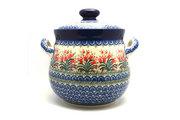 Ceramika Artystyczna Polish Pottery Cookie Jar - 14 cups - Crimson Bells 173-1437a (Ceramika Artystyczna)