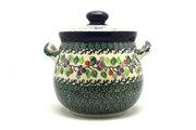 Ceramika Artystyczna Polish Pottery Cookie Jar - 7 cups - Burgundy Berry Green 172-1415a (Ceramika Artystyczna)