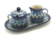 Ceramika Artystyczna Polish Pottery Cream & Sugar Set - Antique Rose 422-1390a (Ceramika Artystyczna)