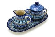 Ceramika Artystyczna Polish Pottery Cream & Sugar Set - Aztec Sky 422-1917a (Ceramika Artystyczna)