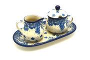 Ceramika Artystyczna Polish Pottery Cream & Sugar Set - Blue Bayou 422-1975a (Ceramika Artystyczna)
