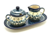 Ceramika Artystyczna Polish Pottery Cream & Sugar Set - Blue Spring Daisy 422-614a (Ceramika Artystyczna)