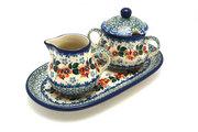 Ceramika Artystyczna Polish Pottery Cream & Sugar Set - Cherry Blossom 422-2103a (Ceramika Artystyczna)