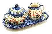 Ceramika Artystyczna Polish Pottery Cream & Sugar Set - Crimson Bells 422-1437a (Ceramika Artystyczna)