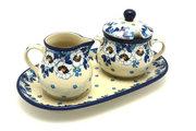 Ceramika Artystyczna Polish Pottery Cream & Sugar Set - White Poppy 422-2222a (Ceramika Artystyczna)