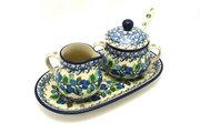 Ceramika Artystyczna Polish Pottery Cream & Sugar Set with Sugar Spoon - Blue Berries S42-1416a (Ceramika Artystyczna)