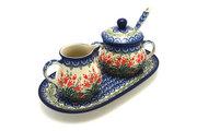 Ceramika Artystyczna Polish Pottery Cream & Sugar Set with Sugar Spoon - Crimson Bells S42-1437a (Ceramika Artystyczna)