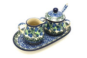 Ceramika Artystyczna Polish Pottery Cream & Sugar Set with Sugar Spoon - Huckleberry S42-1413a (Ceramika Artystyczna)