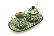 Ceramika Artystyczna Polish Pottery Cream & Sugar Set with Sugar Spoon - Irish Meadow S42-1888q (Ceramika Artystyczna)