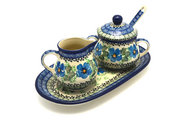 Ceramika Artystyczna Polish Pottery Cream & Sugar Set with Sugar Spoon - Morning Glory S42-1915a (Ceramika Artystyczna)