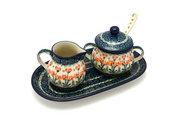 Ceramika Artystyczna Polish Pottery Cream & Sugar Set with Sugar Spoon - Peach Spring Daisy S42-560a (Ceramika Artystyczna)