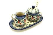 Ceramika Artystyczna Polish Pottery Cream & Sugar Set with Sugar Spoon - Red Robin S42-1257a (Ceramika Artystyczna)