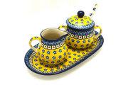 Ceramika Artystyczna Polish Pottery Cream & Sugar Set with Sugar Spoon - Sunburst S42-859a (Ceramika Artystyczna)