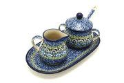 Ceramika Artystyczna Polish Pottery Cream & Sugar Set with Sugar Spoon - Tranquility S42-1858a (Ceramika Artystyczna)