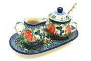 Ceramika Artystyczna Polish Pottery Cream & Sugar Set with Sugar Spoon - Unikat Signature - U4553 S42-U4553 (Ceramika Artystyczna)