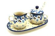 Ceramika Artystyczna Polish Pottery Cream & Sugar Set with Sugar Spoon - White Poppy S42-2222a (Ceramika Artystyczna)