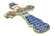 """Ceramika Artystyczna Polish Pottery Cross - Large (8"""") - Crimson Bells 533-1437a (Ceramika Artystyczna)"""