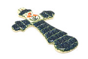 """Ceramika Artystyczna Polish Pottery Cross - Large (8"""") - Peach Spring Daisy 533-560a (Ceramika Artystyczna)"""