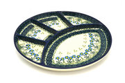 Ceramika Artystyczna Polish Pottery Dish - Divided Appetizer - Blue Spring Daisy 498-614a (Ceramika Artystyczna)