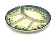 Ceramika Artystyczna Polish Pottery Dish - Divided Appetizer - Daffodil 498-2122q (Ceramika Artystyczna)