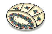 Ceramika Artystyczna Polish Pottery Dish - Divided Appetizer - Garden Party 498-1535a (Ceramika Artystyczna)