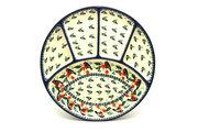 Ceramika Artystyczna Polish Pottery Dish - Divided Appetizer - Red Robin 498-1257a (Ceramika Artystyczna)