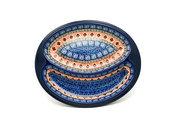 Ceramika Artystyczna Polish Pottery Dish - Divided Polish Sausage - Aztec Sun 497-1350a (Ceramika Artystyczna)