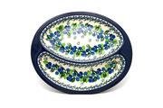 Ceramika Artystyczna Polish Pottery Dish - Divided Polish Sausage - Blue Berries 497-1416a (Ceramika Artystyczna)
