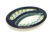 Ceramika Artystyczna Polish Pottery Dish - Divided Polish Sausage - Blue Spring Daisy 497-614a (Ceramika Artystyczna)