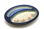 Ceramika Artystyczna Polish Pottery Dish - Divided Polish Sausage - Crimson Bells 497-1437a (Ceramika Artystyczna)