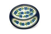 Ceramika Artystyczna Polish Pottery Dish - Divided Polish Sausage - Morning Glory 497-1915a (Ceramika Artystyczna)