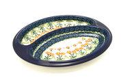 Ceramika Artystyczna Polish Pottery Dish - Divided Polish Sausage - Peach Spring Daisy 497-560a (Ceramika Artystyczna)