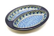 Ceramika Artystyczna Polish Pottery Dish - Divided Polish Sausage - Peacock Feather 497-1513a (Ceramika Artystyczna)