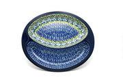 Ceramika Artystyczna Polish Pottery Dish - Divided Polish Sausage - Tranquility 497-1858a (Ceramika Artystyczna)