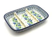 Ceramika Artystyczna Polish Pottery Dish - Divided Rectangular - Blue Berries 393-1416a (Ceramika Artystyczna)