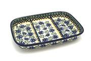 Ceramika Artystyczna Polish Pottery Dish - Divided Rectangular - Blue Chicory 393-976a (Ceramika Artystyczna)